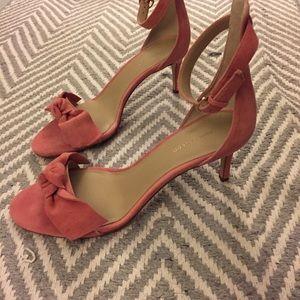 Ann Taylor Twist Bow Low-heeled Suede Sandal